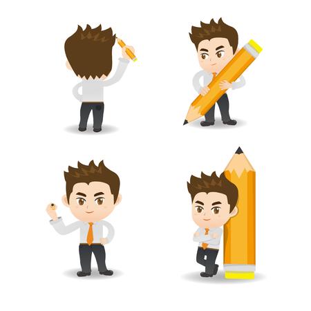 cartoon illustration set of Business man write