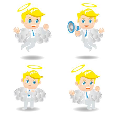 cartoon illustration Businessman positive thinking, angel Illustration