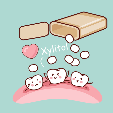 chewing gum: cute cartoon tooth with white chewing gum and xylitol, great for health dental care concept