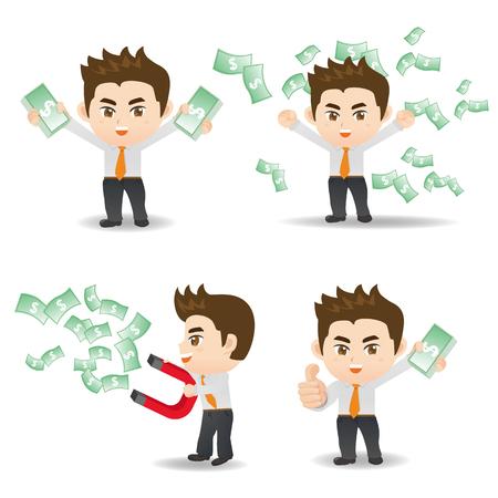 Cartoon set of businessman show finance and money Illustration