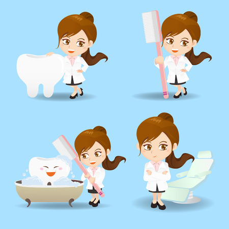 cartoon set of doctor dentist woman in different poses.