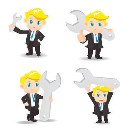 setup man: cartoon illustration set of Business man with wrench Illustration