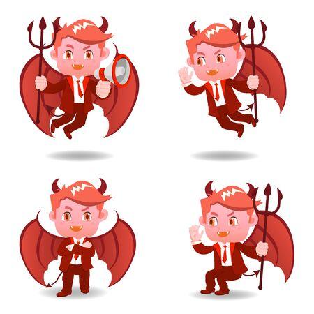 cartoon illustratie set van Zakenman negatief denken, duivel