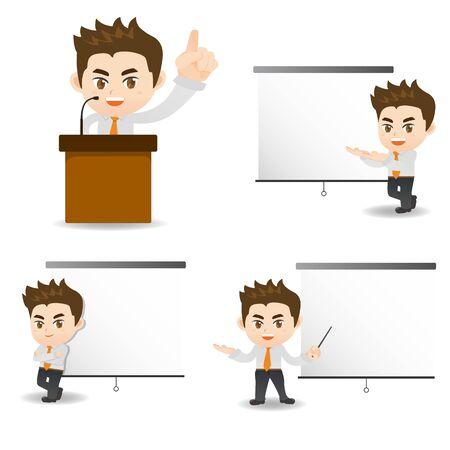 cartoon present: cartoon illustration set of Success Business man present in meeting