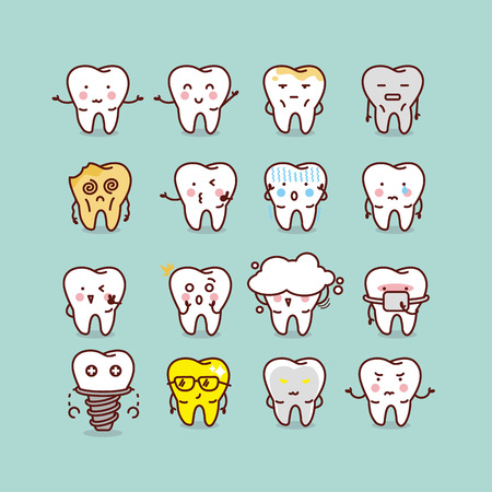 cute cartoon tooth set, great for your design