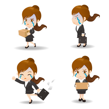 cartoon illustration set of Business woman fired,dismiss