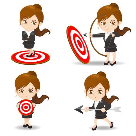 cartoon illustration set of Business woman archery target