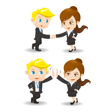 Business woman and man doing handshake and celebrating with hands giving high five isolated on white background