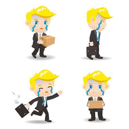 sad businessman: cartoon illustration set of Business man fired,dismiss