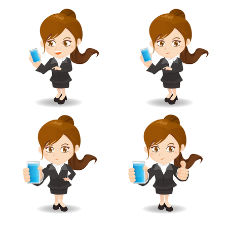 smart phone woman: cartoon illustration set of business woman with smart phone