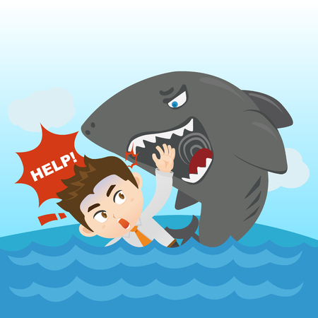 cartoon illustration set of Businessman dangerous, crisis Illustration