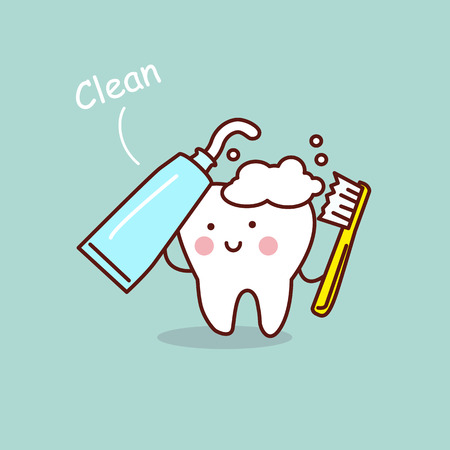 cute cartoon tooth brush and clean, great for health dental care concept Banco de Imagens - 69288516