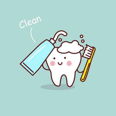 Niedlichen Cartoon Zahnbürste und sauber, ideal für Gesundheit Zahnpflege-Konzept Standard-Bild - 69288516