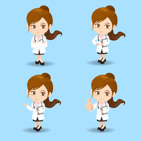 introduce: cartoon set of doctor woman in different poses. Illustration