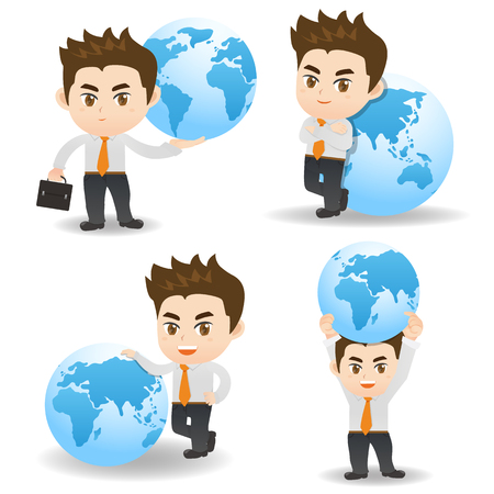 cartoon illustration set of Business man with global, international, world business concept Illustration