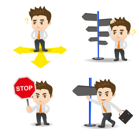 cartoon illustration set of Business man is choosing directions, confusion, decision.