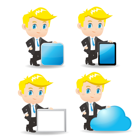 introduce: cartoon illustration set of Business man show something, great for your design