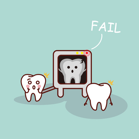 radiography: cartoon tooth with X ray, great for health dental care concept