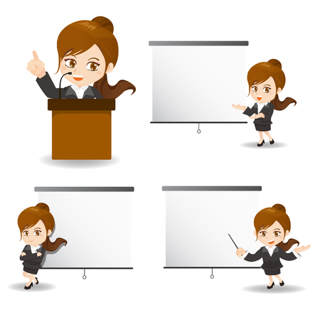 cartoon illustration set of Success Business woman present in meeting