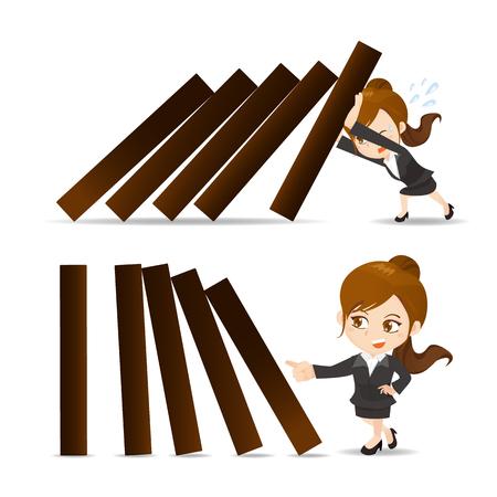 ビジネス女性プッシュ ドミノの漫画イラスト セット
