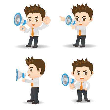 Cartoon-Set von Geschäftsmann schreien Megaphon isoliert auf weißem Hintergrund