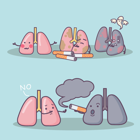rejection: Smoke damage your lung, great for health care concept Illustration