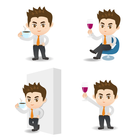 cartoon illustration set of Business man drinking coffee and red wine