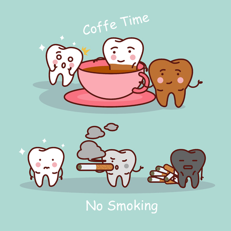 cartoon black or yellow tooth with coffee and smoke, great for dental care and teeth whitening and bleaching concept