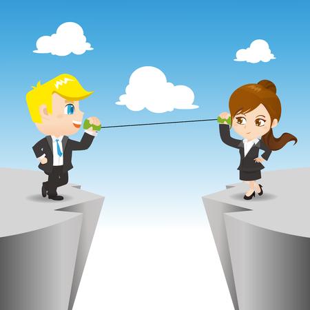 montañas caricatura: ilustración de dibujos animados conjunto de empresarios de conexión con el teléfono lata
