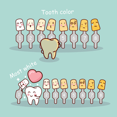 cartoon tooth with whitening and bleaching tool,  great for dental care and teeth whitening and bleaching concept