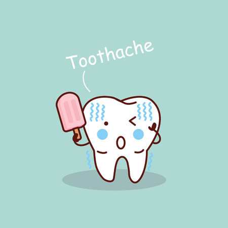 cartoon sensititive tooth, great for health dental care concept  イラスト・ベクター素材