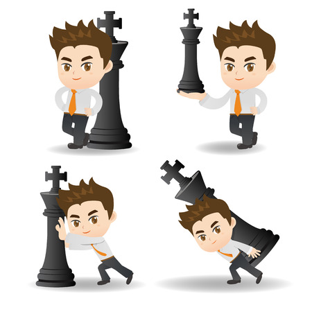 cartoon illustration set of Success and excited Business man push chess