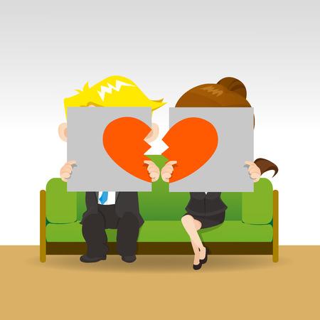 Scheidung - Trauriges junges Paar hält Anschlagtafel Zeichen mit Pause Liebe Herz, Konzept für Scheidung Vektorgrafik