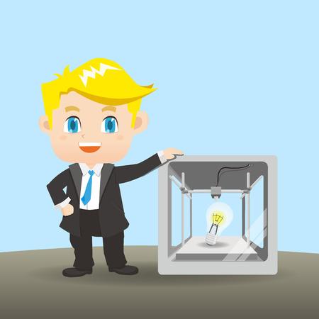 ingeniero caricatura: ilustración de dibujos animados hombre de negocios con la impresora 3D