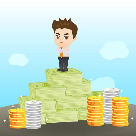 cartoon illustration set of Businessman earning the money