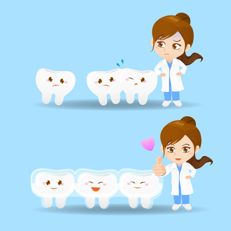 cartoon set of doctor dentist woman with tooth and invisible braces