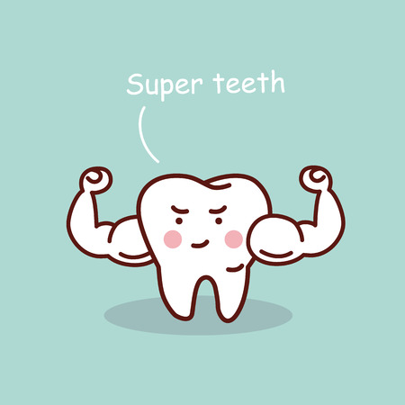 Super health cartoon tooth, great for health dental care concept