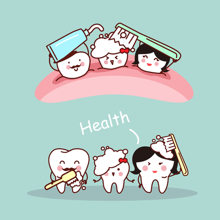 brush teeth: Happy cartoon tooth family and they brush teeth, great for health dental care concept