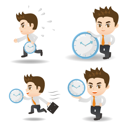 deportes caricatura: cartoon illustration set of Success and excited Business man hold clock Vectores