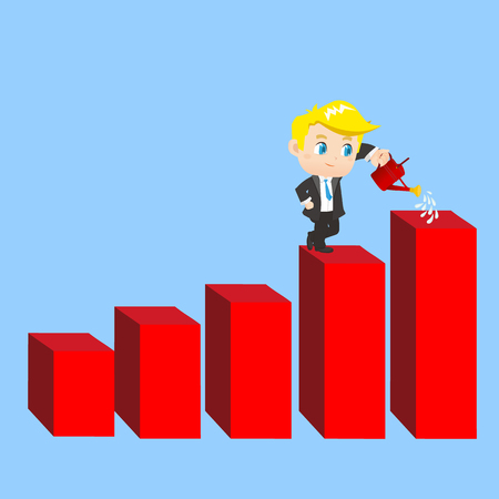 cartoon illustration set of Business man shows sale growth, gaph Illustration