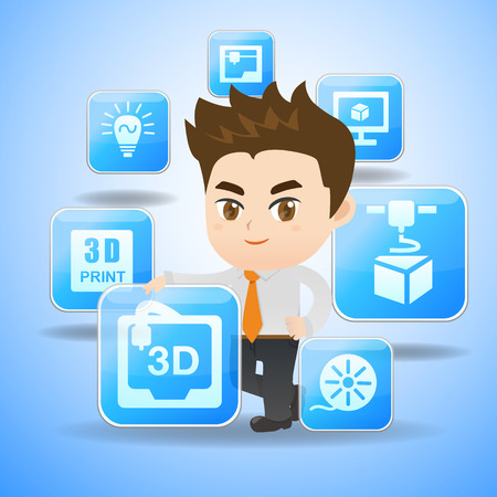 ingeniero caricatura: 3D print concept - Cartoon businessman hold 3D print App icon