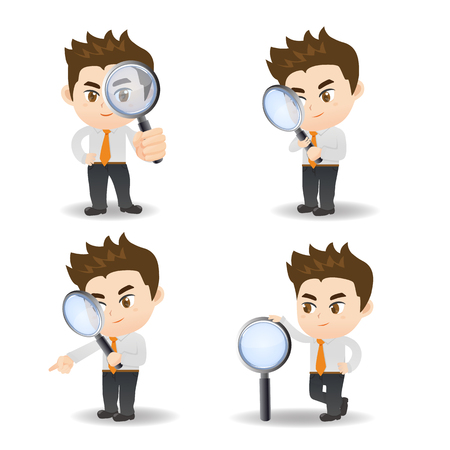 cartoon illustration set of Business man with magnifying glass, observation
