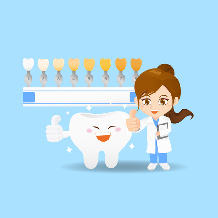 cartoon set of doctor dentist woman with tooth and whitening tool