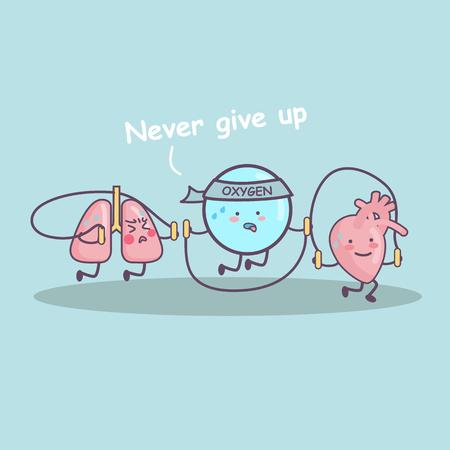 Salud aeróbico ejercicio cuerda que salta por el pulmón, el corazón y el oxígeno, gran concepto de cuidado de la salud