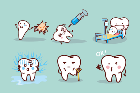 cartoon tooth cavity, great for health dental care concept 일러스트