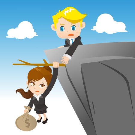 business obstacle: cartoon illustration set of businesspeople with dangerous investment