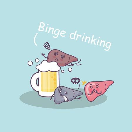 Licor borracho y el hígado, gran concepto de cuidado de la salud