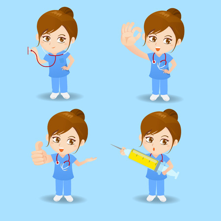 trainee: cartoon set of doctor surgeon woman in different poses.