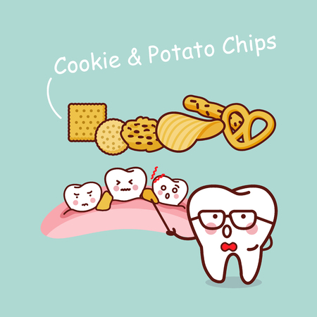 potato chips: tooth with cookie potato chips, great for health dental care concept