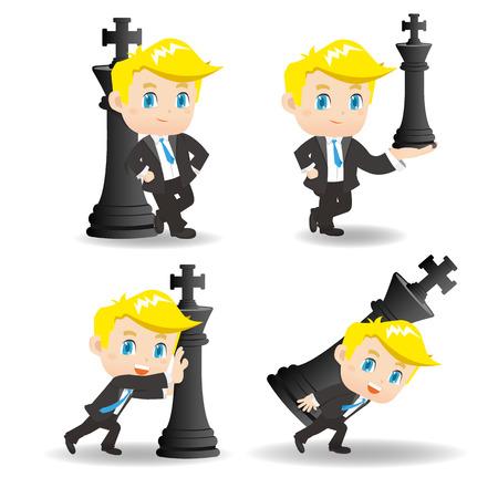 rey caricatura: ilustración de dibujos animados conjunto de Éxito y emocionados hombre de negocios de empuje de ajedrez